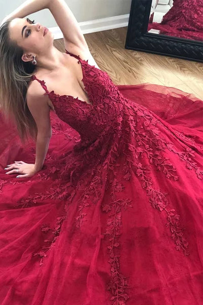 Fabulous Burgundy A-line V-neck Lace Long Prom Dress with Appliques, SP496