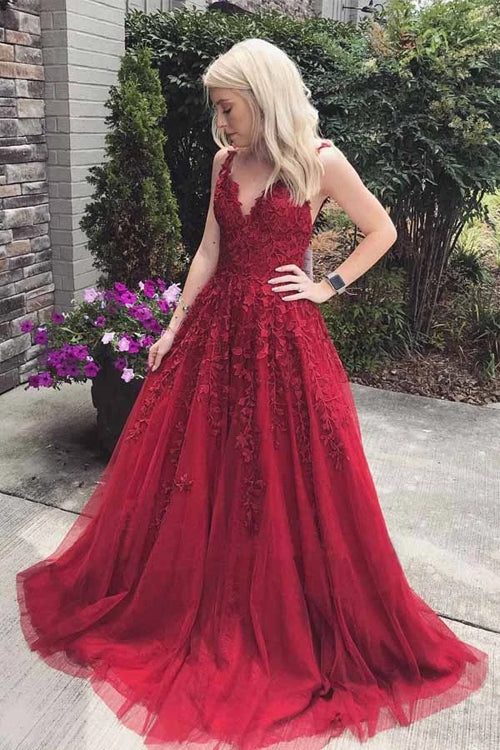find Fabulous Burgundy A-line V-neck Lace Long Prom Dress with Appliques, SP496 at www.simidress.com