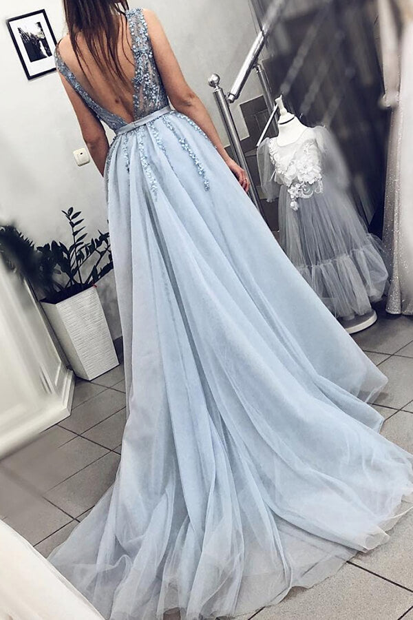 Beautiful Beaded Powder Blue A-line V-neck Plunging Neck Sweep Train Prom Dress, SP497 | Simidress.com