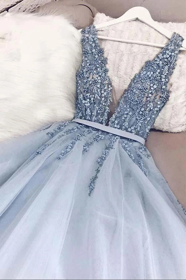 www.simidress.com | Beautiful Beaded Powder Blue A-line V-neck Plunging Neck Sweep Train Prom Dress, SP497