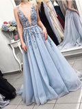 Beautiful Beaded Powder Blue A-line V-neck Plunging Neck Sweep Train Prom Dress, SP497 | prom dresses | evening dresses | formal dresses | Simidress