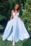 Simple Light Blue Chiffon A-line V-neck Long Prom Dresses with Side Slit, SP501