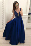 Dark Blue A-line V-neck Satin Beaded Floor Length Prom Dresses Evening Dress, SP503