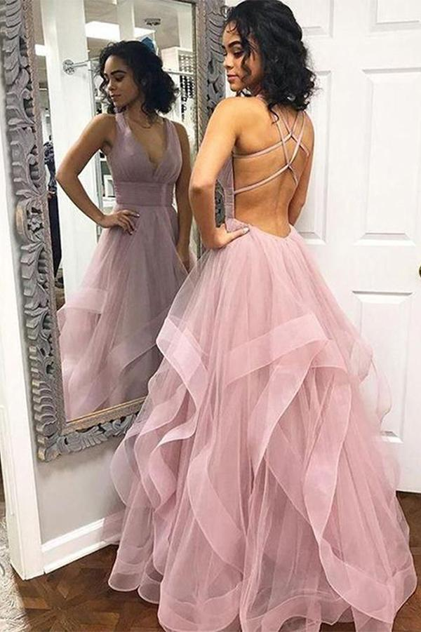 Find Elegant Pink Tulle A-line V-Neck Long Prom Dresses, Cheap Party Dresses, SP527 at www.simidress.com