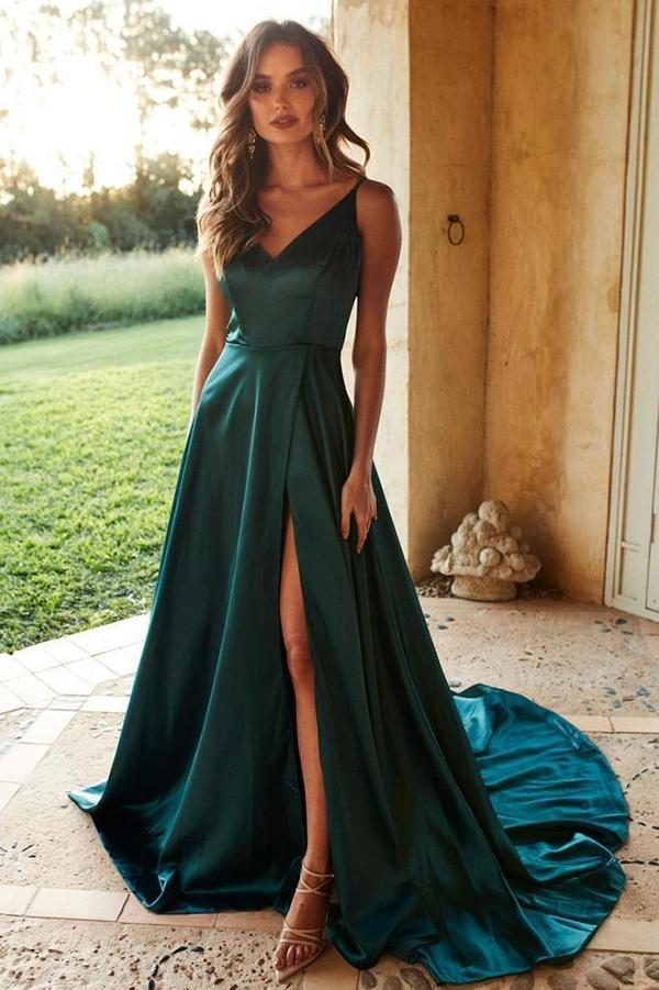 Simple Silk Like Satin Green Spaghetti Straps Long Prom Dresses with Slit, SP530