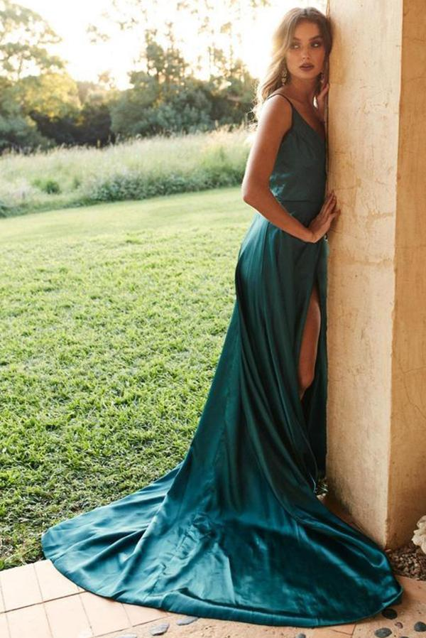 www.simidress.com | Simple Silk Like Satin Green Spaghetti Straps Long Prom Dresses with Slit, SP530