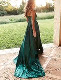 Find Simple Silk Like Satin Green Spaghetti Straps Long Prom Dresses with Slit, SP530 at www.simidress.com