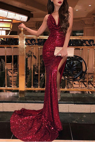 Shiny Burgundy Sequins Mermaid Long Prom Dresses Evening Dresses with Split, SP538