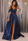 www.simidress.com | Elegant Navy Blue Sequin One Shoulder Slit Long Prom Dress with Appliques, SP539