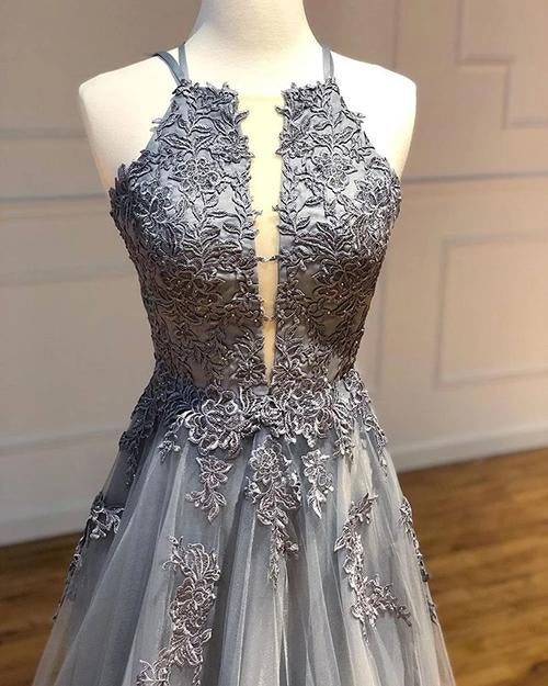 simidress.com | Grey Tulle A-line Spaghetti Straps Long Prom Dresses With Lace Appliques, SP541