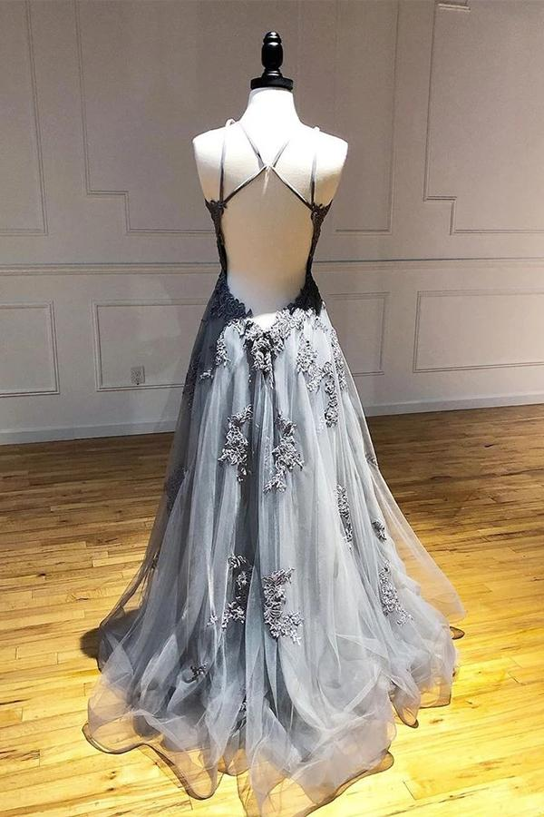 Find Grey Tulle A-line Spaghetti Straps Long Prom Dresses With Lace Appliques, SP541 at simidress.com