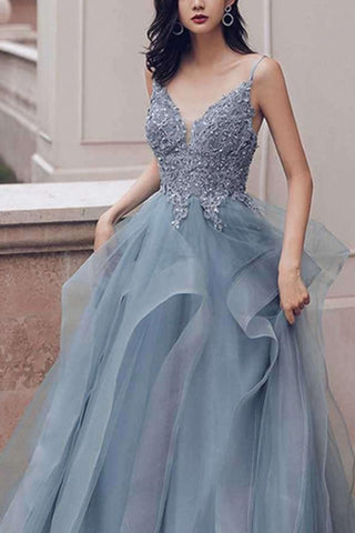 Prussian Blue A-line V-neck Appliqued Multi-Layered Organza Prom Dresses, SP542