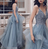 simidress.com | Prussian Blue A-line V-neck Appliqued Multi-Layered Organza Prom Dresses, SP542