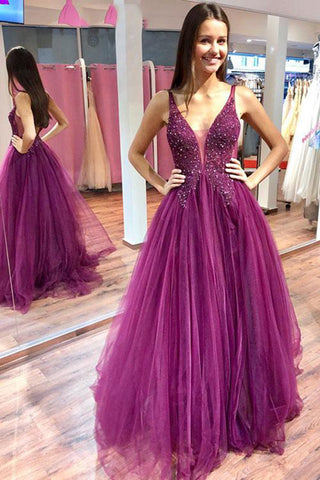 Elegant Purple Tulle A Line V Neck Beaded Floor Length Long Prom Dresses, SP543