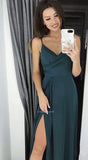 Find Simple Spaghetti Straps Satin Long Prom Dresses Party Dress with Pleats and Slit, SP548 at simidress.com