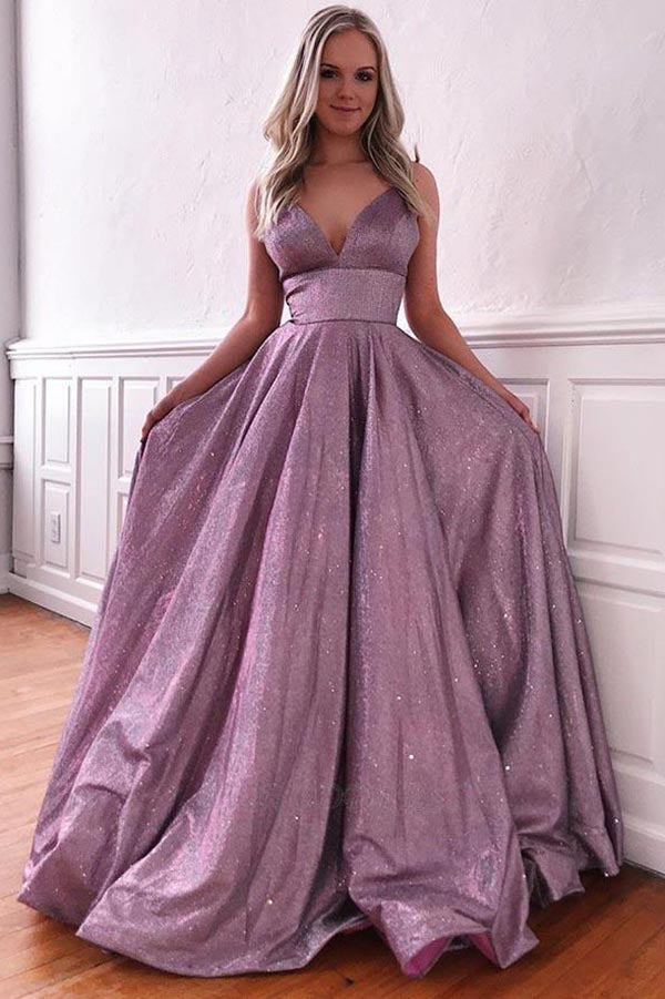 www.simidress.com offer Simple Purple A-line Spaghetti Straps Prom Dresses, Evening Dress with Pockets, SP550