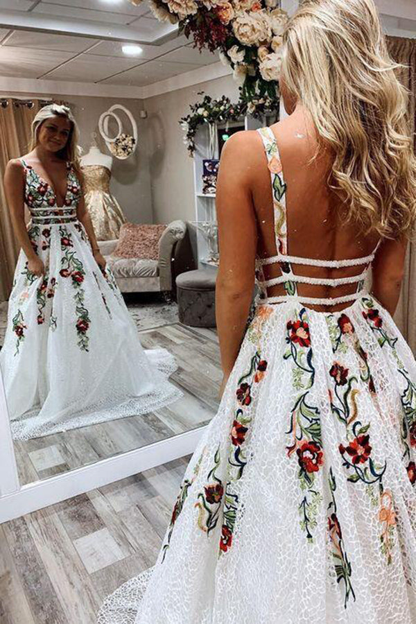 White Lace Floral Princess A Line V Neck Backless Long Prom Dresses, Party Dress, SP552