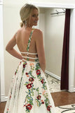 www.simidress.com supply White Lace Floral Princess A Line V Neck Backless Long Prom Dresses, Party Dress, SP552