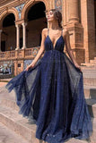 New Arrival Navy Tulle Sparkly A-line Deep V-neck Backless Elegant Prom Dresses, SP560
