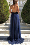 www.simidress.com supply New Arrival Navy Tulle Sparkly A-line Deep V-neck Backless Elegant Prom Dresses, SP560
