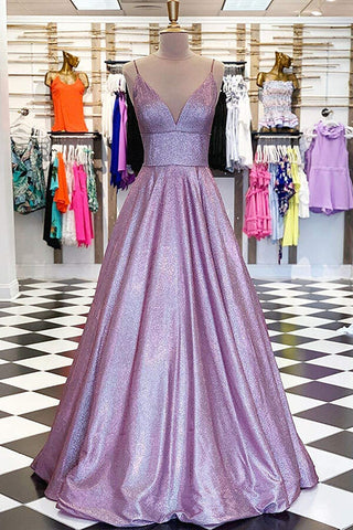 Lavender Sparkly Ball Gown Open Back V-neck Prom Dresses with Sequins, SP565 | prom dresses | evening dresses | formal dresses | lavender prom dresses | ball gown | sequins prom dresses | Simidress.com