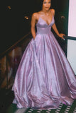 Lavender Sparkly Ball Gown Open Back V-neck Prom Dresses with Sequins, SP565