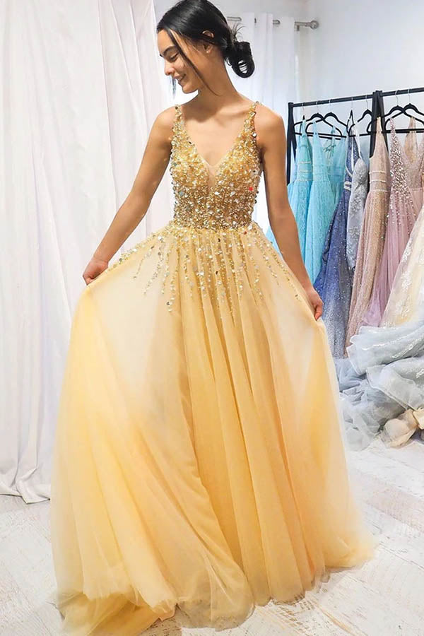 New Arrival Tulle Beaded Yellow A-line V-neck Floor Length Long Prom Dress, SP566