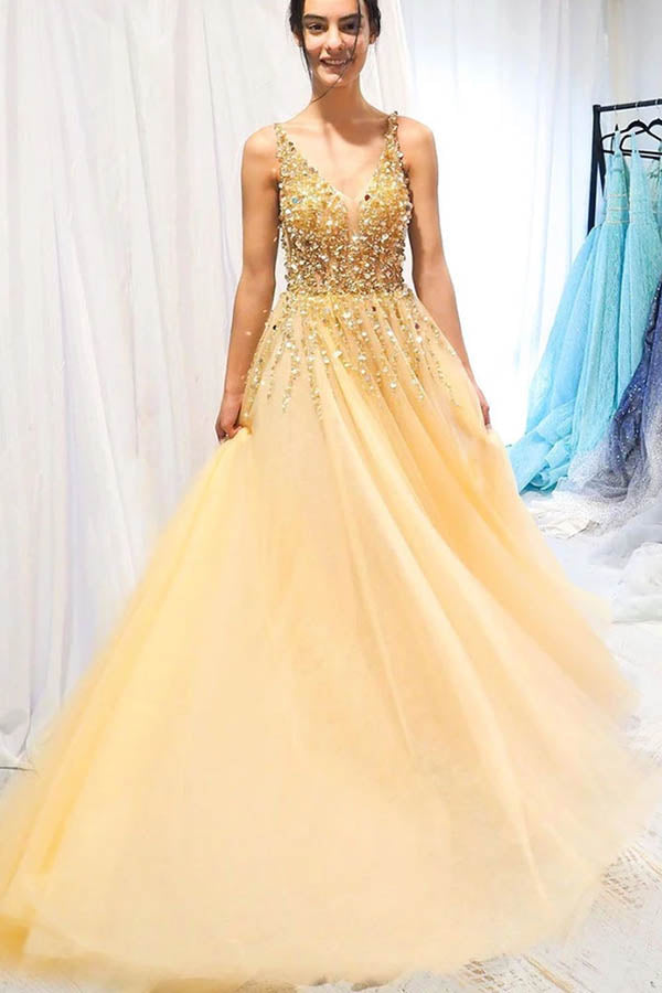 www.simidress.com supply New Arrival Tulle Beaded Yellow A-line V-neck Floor Length Long Prom Dress, SP566
