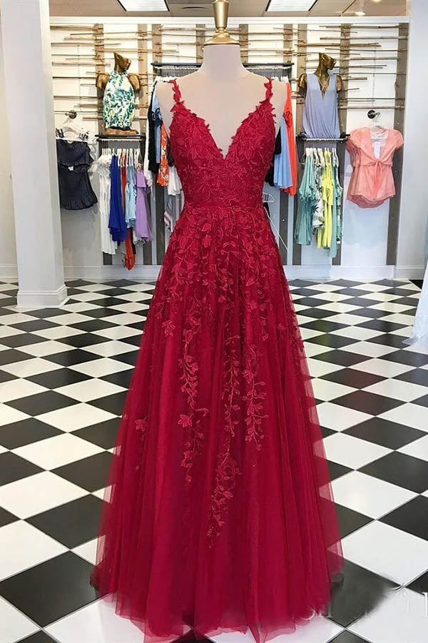 Dark Red A Line V Neck Spaghetti Straps Open Back Prom Dresses with Appliques, SP567