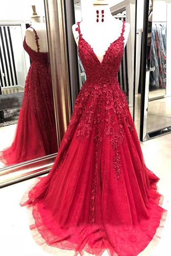 www.simidress.com offer Dark Red A Line V Neck Spaghetti Straps Open Back Prom Dresses with Appliques, SP567