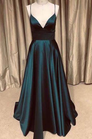 www.simidress.com offer Sparkly Dark Green A Line V Neck Spaghetti Straps Long  Prom Dress with Pockets, SP568