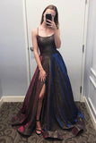 Unique Sparkly Ball Gown Spaghetti Straps Scoop Prom Dresses With Slit, SP570