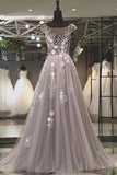 Modest Gray Tulle A-line Scoop Long Prom Dress Evening Dress with Appliques, SP574