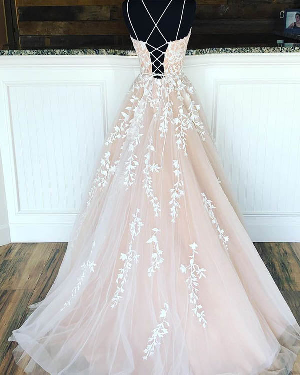 simidress.com supply Elegant Double Straps Tulle Ball Gown Long Prom Dresses with Appliques, SP575