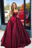 Dark Red Satin Ball Gown Floor Length Sweetheart Long Prom Dresses with Pockets, SP581