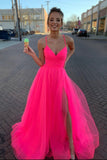 New Style Simple A-line Tulle V-Neck Spaghetti Straps Long Prom Dress with Slit, SP588