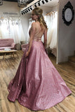 simidress.com offer Sparkle Floor Length A-line Scoop Spaghetti Straps Long Prom Dress with Pockets, SP591