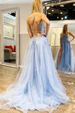 www.simidress.com supply Blue Tulle Spaghetti Straps High Slit Sweep Train Prom Dress With Appliques, SP624 at affordable price