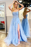 Find Blue Tulle Spaghetti Straps High Slit Sweep Train Prom Dress With Appliques, SP624 at www.simidress.com