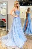 Blue Tulle Spaghetti Straps High Slit Sweep Train Prom Dress With Appliques, SP624