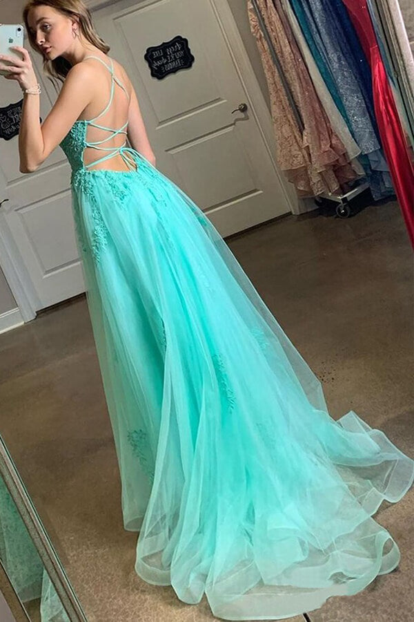 Blue Tulle Spaghetti Straps High Slit Sweep Train Prom Dress With Appliques, SP624 | long prom dresses | evening dresses | lace prom dresses | party dresses | formal dresses | prom gowns | simidress.com