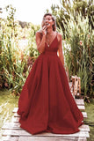 Simple Burgundy Satin A-line Deep V Neck Backless Prom Dress With Sweep Train, SP625