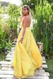 www.simidress.com supply Simple Yellow Satin A-line Deep V Neck Backless Prom Dress With Sweep Train, SP625