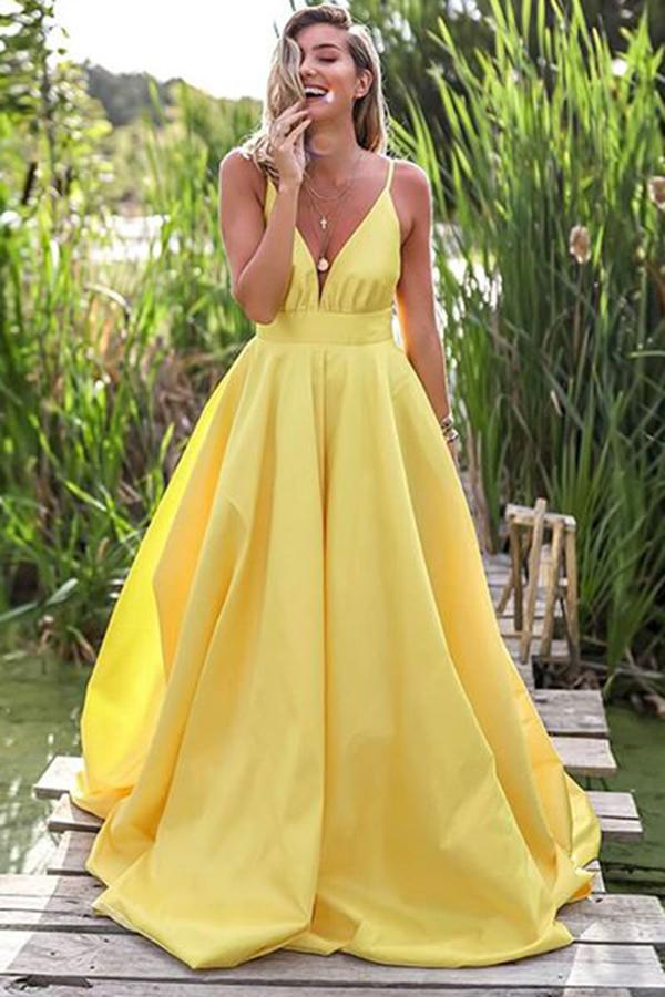 Simple Yellow Satin A-line Deep V Neck Backless Prom Dress With Sweep Train, SP625