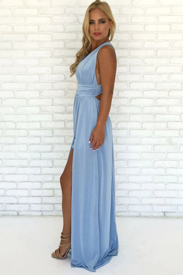 www.simidress.com supply Sky Blue Chiffon A-Line V-Neck Criss-Cross Straps Prom Dress With Side Slit, SP626