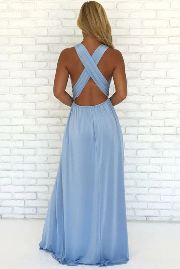 Find Sky Blue Chiffon A-Line V-Neck Criss-Cross Straps Prom Dress With Side Slit, SP626 at www.simidress.com at good price