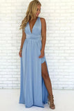 Sky Blue Chiffon A-Line V-Neck Criss-Cross Straps Prom Dress With Side Slit, SP626