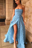 Sky Blue A-Line Off Shoulder Strapless Lace Prom Dresses With High Split, SP628