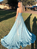 www.simidress.com supply Sky Blue A-Line Off Shoulder Strapless Lace Prom Dresses With High Split, SP628