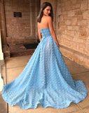 Find Sky Blue A-Line Off Shoulder Strapless Lace Prom Dresses With High Split, SP628 at www.simidress.com